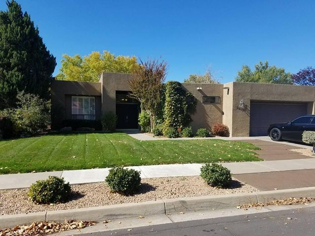 Desirable neighborhood of PEPPERTREE!  ONE STORY 3BDR/2BA PLUS office!  Light, bright & open floorplan featuring walls of windows, 2 living areas, dining room, French doors to the backyard, flex room/office, large secondary bdrs with walk-in closets, skylights, NEW EVAP COOLER (2018), gas fireplace!  Oversized kitchen features an island/bkfst bar, butcher block counter, lots of cabinets, walk-in pantry, recessed lighting, bkfst nook & tile flooring.  Master suite features recessed ceiling, walk-in closet, sep shower, garden tub, dual sink vanity plus French doors to the patio!  Beautiful outdoor living space for entertaining with a covered patio, putting green, surround sound, grass, mature trees & landscaping plus two storage sheds. Terrific location close to parks, schools & shopping!