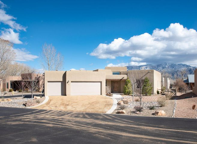 Bosque Beauty & the Best!  Come & you'll know why this one was a 2016 Parade of Homes award winner.  In gated community, this home is stunning AND loaded with energy-efficiencies that will keep you comfortable all year.  Builder led the way in green building before it was a trend & carefully constructed this home to meet standards of NM Green Builders Association.  Family room is graciously appointed with cedar ceiling, vigas, kiva fireplace, & picture windows.  Well-thought floorplan opens lovely kitchen with SS appliances & granite to family room & nook.  Everyone has their space with a bathroom for each bedroom including 2nd master.  Pantry, laundry, & master closets are generously sized.  Lovingly trimmed w/ skip trowel texture, variance accent walls, stacked stone, & deco bath tile.