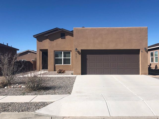It has everything and it's delightful! All appliances included, refrigerated A/C, tank-less water heater, and best of all it is super clean! Build Green NM Silver saves on utility costs. Built-in Taexx pest control system. All three schools in this district have A ratings! Sellers raised the backyard wall for extra privacy, extended the patio, and xeriscaped the backyard with a nice flagstone walkway. The office/study could easily be converted into a fourth bedroom. Master bedroom is separate from the other two bedrooms and has a huge walk-in closet, master suite with garden tub and separate shower. Only ten minutes to the Railrunner and easy access out of town to Jemez and all things North and fun.