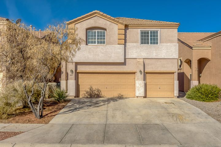 Lovely home in the popular Santa Fe at the Trails community.  Large multi-level home perfect for every family.  Kitchen with upgraded cabinets, stainless appliances, island and pantry.  Open main level with study or 4th bedroom.  Upstairs features a loft, 2 bedrooms, plus a large master with balcony.  Close to soccer park, walking trails, and easy access to Paseo and I-40.
