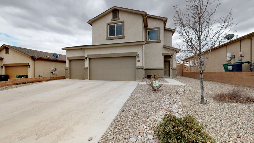 Don't miss out on this secluded Rio Rancho neighborhood!  No HOA, No PID.  Lots of open space nearby to go on walks.  Also close to all the conveniences including schools, shopping, and restaurants. One owner, well maintained home.  Enjoy the efficiency of the tankless water heater and other reduced utility costs in this Silver rated Build Green home.  Kitchen has a large dining space with stainless steel appliances and BIG pantry. Master suite has two large walk-in closets and full bath with double sinks. Enjoy spending time in the extra loft area upstairs.  Big back yard has lots of space to play, BBQ, and garden.  Don't forget all the extra storage space in the 3 car garage! Make this your home today!