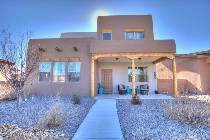 Come see this two year old 3 bedroom Twilight home located in the high desirable community of Meas Del Sol . This home has Granite counter tops , Stainless steel appliances and also included washer and Dryer. Minutes from downtown, uptown, UNM and so much more. Enjoy the community events, pool, and Park.