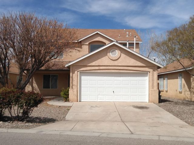 Home Being Sold ''AS-IS''. Great opportunity to own this 2,195 sqft Home with 4, bedrooms, 3 full baths, 1 bedroom and 1 full bath on the main level and 2 car garage in  Rio Bravo Commons! The HOA  is only $29/Month which covers the common area. Nice open floorplan, backs up to a neighborhood park, close to the Bosque and Nature Trails,  Rail Runner, I-25 and more...