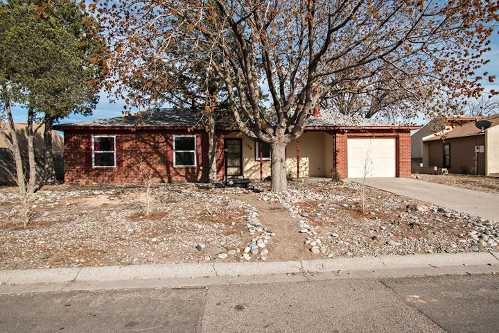 Great opportunity to own a wonderful home in a well established neighborhood in Rio Rancho. This charming 3 bedroom/2 bath residence has new paint inside and new carpets. 1/4 acre lot offers ample backyard space. NO POLY PIPES. All appliances convey, including Washer/Dryer. Great starter home!