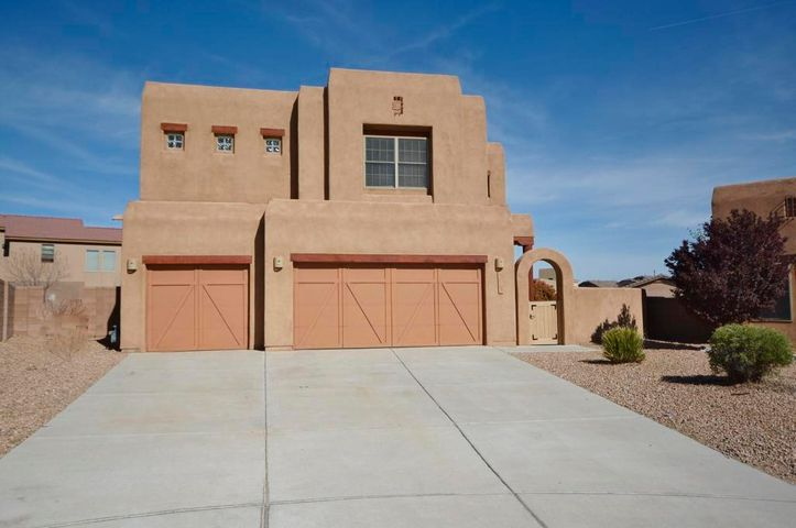 Beautiful Tiffany home 5BDRs PLUS LOFT/3BA/3CG in Estancias at Santiago!  CUL-DE-SAC!  Private front courtyard!  One BDR & full bath on the main level!  Light, bright and open!  Great room features wood viga ceiling, wall of windows, Kiva gas fireplace.  REFRIG AIR!  Kitchen features upgraded cabinets, granite countertops, walk-in pantry, bkfst bar and large bkfst nook, recessed lighting & tile flooring and patio access.  Oversized master suite features a wall of windows with views of the Sandia mountains, double doors, garden tub, sep snail shower, double sink solid surface vanity & walk-in closet.  Large secondary bdrs plus loft for second living space!  Huge lot on cul-de sac. Close to Bosque trails, parks, schools & shopping!
