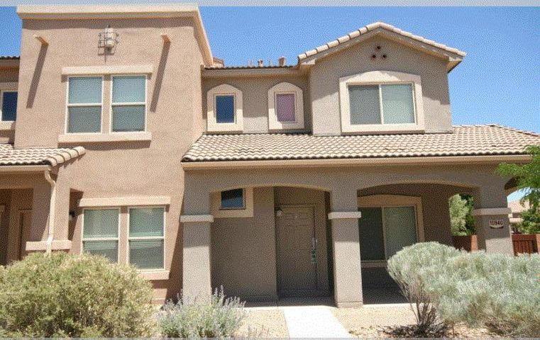 Fantastic Presidio Community 3 bedroom 2 1/2 bath with new paint and carpet.  Close to Kirtland AFB, Sandia Labs, I-40, shopping & restaurants.  This floorplan is very open and boasts plenty of natural light.  Spacious master suite has large walk-in closet.  Fully landscaped front yard with trees & shrubs and very close to the Club House which features a kitchen, dining and entertainment area for special gatherings.  HOA is $60 per month and mandatory.  Unit is a townhouse and attached as a 1/2 duplex.
