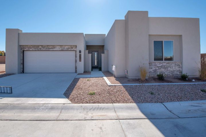 This new custom home is located in a small gated community, Desert Ridge Pointe and consists of only eight home sites.  Some of the features of this home are a front covered porch, a great room and dining area that open up to an oversized rear coveed patio, granite countertops, tile flooring, custom lighting, master bedroom ceiling treatments, front yard landscaping, stainless steel appliances and skylights throughout.