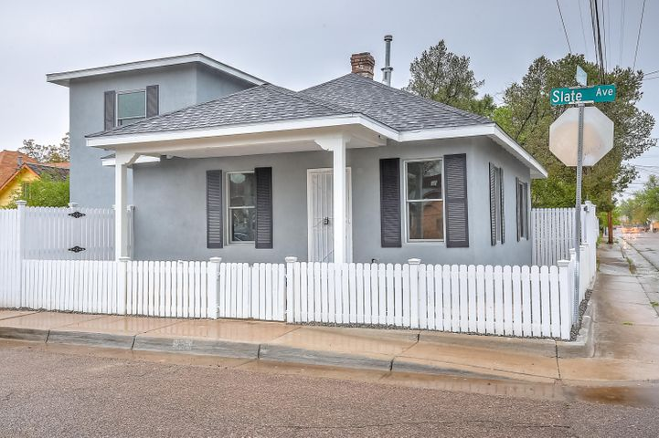 Price Reduction, Stunning remodeled home. Conveniently located between Downtown & Old Town. Near Shopping, Parks, Breweries,Restaurants,Museums and UNM. Home in the Eighth and Forrester Historic Protection area. 3 Br 2 Ba, Completely renovated from top to bottom. NEW: Electrical, Plumbing, Heating, Refrigerated Air System, Roof, Tankless water-heater, Synthetic stucco, Gorgeous kitchen with white cabinetry, Granite counter-tops, Pella windows, Doors, Bathrooms, Flooring, Stainless steel appliances including refrigerator. Great open floor plan. Very low maintenance yard. Large walk in closet in master-bedroom. Easy sliding gate to park your vehicle $2500 Credit for car port.  Come take a look you will not be disappointed.