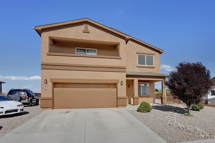 You can't miss this great home! Get the new home feel without paying the price. This is Greenbuild DR Horton home built in 2013. This home includes 4 nice sized rooms, open floor plan, and a game room. Master suite is huge and includes a big walk-in closet and separate garden tub. You also have wonderful views of the sandia mountains and covered balcony right off the master suite. Also a big plus is that there is no HOA. Come take a look for yourself!