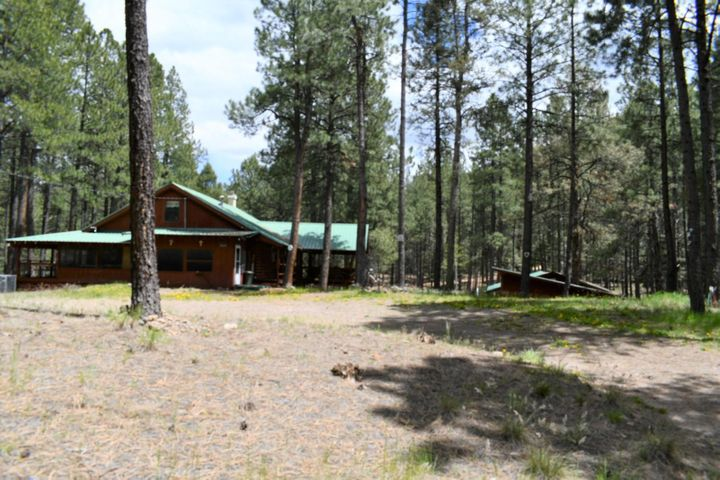 Location, location, location!  Two full ponderosa pine acres of Jemez Mountain paradise.  Strong and solid cabin or full-time home. Beautiful sun room! Covered decks and huge screened-in porch for your 4th of July barbecue. Inside you will find a gorgeous two story rock fireplace for those snowy winter nights.  Kitchen is well appointed and has wonderful counterspace, lots of cabinets, and three pantires!  There are bedrooms and baths for everyone. Enough garage space for your truck, car, and toys!  Make it yours!