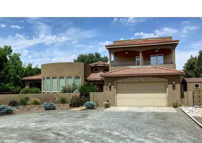 located across from the Los Ranchos village park and tennis courts.