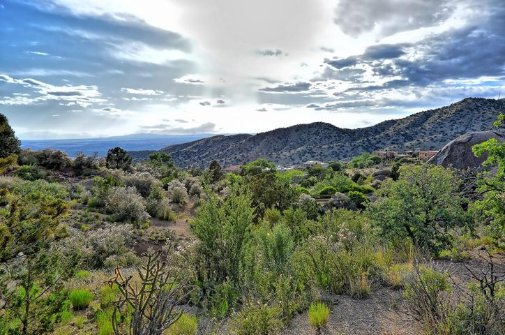 Fabulous opportunity to build your dream home! This premier lot sits adjoining the national forest in the Tierra Monte neighborhood and is just waiting for the lucky buyer! Imagine the possibilities on this large 1 1/2 Acre great shaped lot. Capture the magic of the potential views of the City and the Sandia Mountains from this spectacular property. Enjoy the privacy and seclusion of the setting just minutes from the many services and amenities of Albuquerque's NE Heights. Enjoy the beauty of the natural surroundings and wildlife just outside your door. Surrounded by custom homes, this is truly one a spectacular lot.