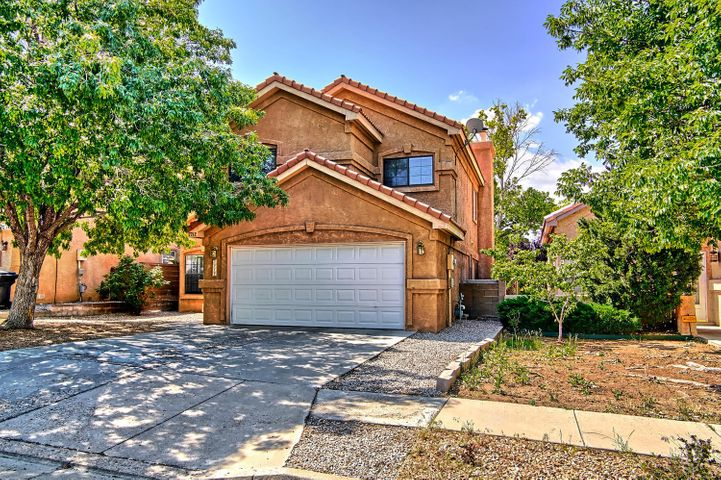 This lovely home nestled in beautiful & family friendly Nor Este Estates features a bright, open floor plan with multiple living areas and within quick walking distance to Desert Ridge, La Cueva Highschool and great shopping areas, parks and more! Freshly painted and has new carpet, move in ready!