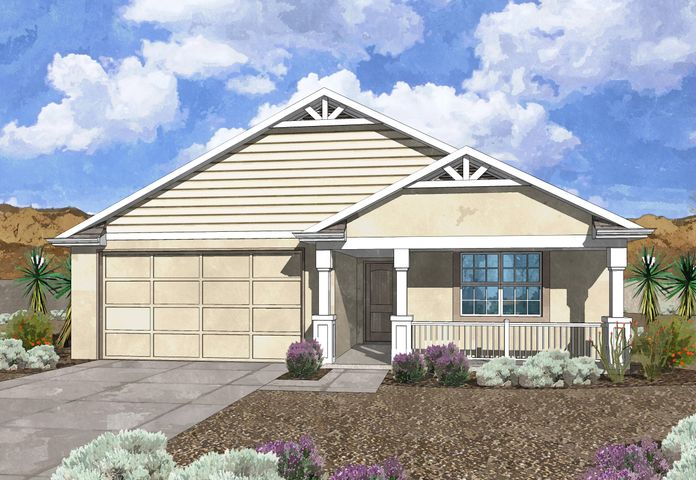 Westway Homes Introduces the Pearl in De La Reina! This is Belen's newest community and offers 5 great floor plans to accommodate all needs. The Pearl is a 3 bedroom, 2 bath, open floor plan. The living area is all tile and the kitchen features granite counter tops and GE appliances. The baths include tile on the floors and tile surround in the tub/shower with granite counter tops. Come be a part of Belen's newest community.
