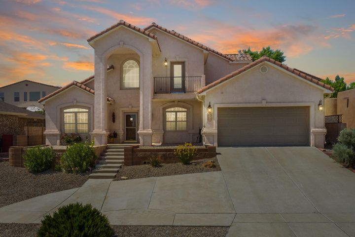 Welcome to this Bright, Beautiful, Thoughtfully Designed Custom Home in Northwest Albuquerque! *First-Floor Master Suite!* 4513 Capri Court offers an Open Floor Plan and an Updated Kitchen with Granite Countertops, Stainless Appliances, Pantry, and Breakfast Nook. Separate Formal Dining Area! The Main Living Space is Graced by High Soaring Ceilings and Lots of Natural Light. Let a Gas Fireplace with Stacked-Stone Accent be your Family Room's Focal Point! The First-Floor Master Suite offers a Spa-Like Experience with Double Sinks, Dual Shower Head, Jetted Tub, plus California Closet. An Upper-Level Guest Bedroom presents a Balcony with Enchanting Mountain Views. The Study/Office can be your 5th Bedroom or 2nd Living Space. *Refrigerated Air!* Live in Luxury and Comfort at 4513 Capri Court!