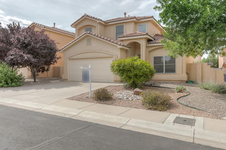 *Open Sunday 1-3pm* 5 Bedrooms in Double Eagle, Desert Ridge and La Cueva School District! Light, Bright and Open concept home is move in ready just in time for the new school year. Wonderful opportunity for multigenerational living as well with a bedroom and 3/4 bathroom downstairs! Even better, this home has owned SOLAR PANELS so it keeps your energy costs low when you crank the refrigerated air conditioning. So much room to spread out in this home with 2 living rooms downstairs, formal dining room, plus an eat in kitchen! Upstairs there are 4 more bedrooms, one of the bedrooms would make a great theater room. The master is a lovely space with a private balcony with views, a full bathroom, and large walk in closet. The other bedrooms and bath are well appointed. Enjoy the green backyard!