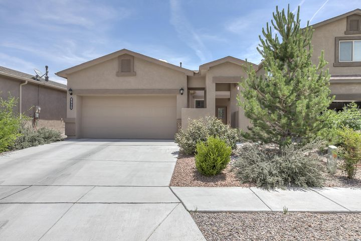 Single Level, REFRIGERATED AIR, Move-in Ready! Located in the highly sought after Taos Trail subdivision, this home has a pitched, clay-tile roof, low maintenance yards, high ceilings + light and bright floorplan! Master bedroom is nicely sized with access to Master Bathroom featuring a separate tub & shower + walk-in closet! Open kitchen has gas range, microwave, dishwasher, refrigerator, pantry, and plenty of room for a breakfast nook table or over-sized island! Neutral colors throughout! Located in a community with maintained walking trails and multiple neighborhood parks- this area has easy access to Paseo Del Norte, grocery shopping & restaurants! Schedule you private showing with a Realtor today!