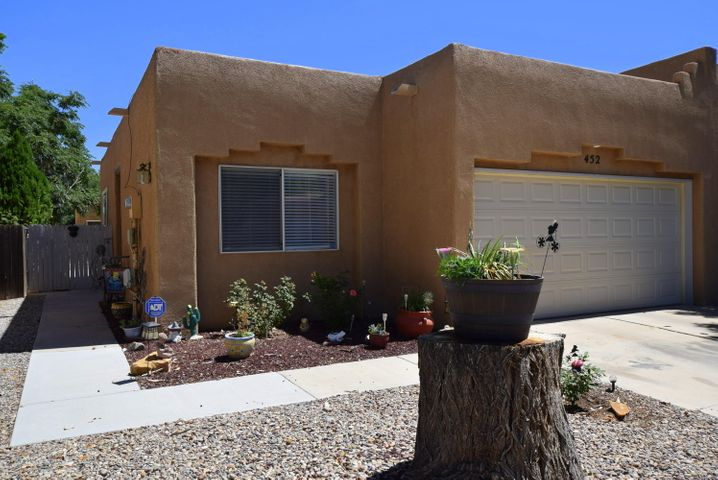 This beautiful, recently remodeled townhome is in the heart of Los Lunas; walking distance to the Road Runner Station, and close to highway access, shopping and schools.  All inspections have been completed and repairs have been started.  This home has a very open and bright floorplan with 3 sky lights and plenty of windows. The floorplan is split with the Master bedroom on one side of the house and the other 2 bedrooms on the other side.  The Master bath has a wonderful soaking tub with separate shower.  There is a 2 car garage, concrete patio and 8x8 shed outside. This is a beautifully maintained home, both inside and out.  The neighborhood is quiet and green with lots of trees.  Come take a look!