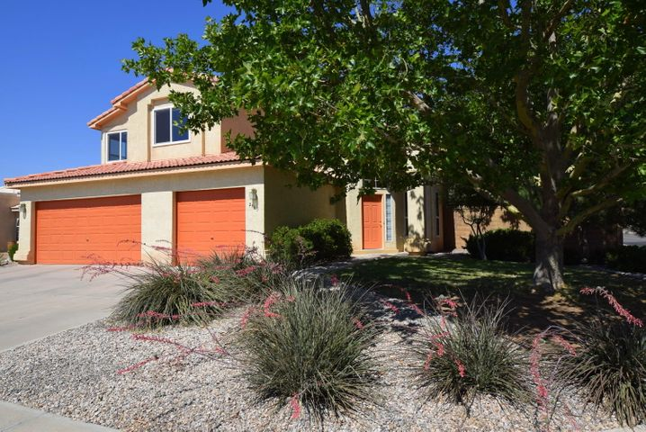 Exceptionally delightful, light filled 3 bedroom. Executive style living at it's best. Living/Dining rm w/ soaring ceilings.  A truly functional floor plan.  Every space pleases.  Family/guest BRs w/ gorgeous Mtn Views! Spacious Mstr w/ deck.  Lovely gunite pool with heater & hot tub.  Brand New Windows, tended roof by SP Tile, newer Hot water heater. new a/c compressor. 2 or 3 car garage (currently 3rd is 1/2 storage, easily converts back to full 3rd bay. ) Family rm w/ fireplace, just off spacious kitchen.  Spacious back yard with native grasses beginning to grow, Desert Willows & Sycamores.  A much loved home prepared and prepped for the new owner.