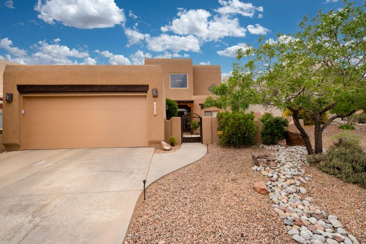 High Desert living at its finest! This stunning Scott Patrick starts with a xeriscaped courtyard, & a welcoming foyer w/gorgeous venetian plaster & clerestory windows. Spacious gourmet kitchen w/gas cooktop, ample cabinets, granite counters, upgraded ss appliances, center island, large pantry & bkfst nook. Kitchen is open to great room highlighted by soaring T&G ceiling, Kiva FP, & expansive windows with mountain views. Great room, kit, separate dining rm & entry all have beautiful maple hardwood flooring. Serene outdoor living area w/fabulous water feature, stream, & gorgeous plantings is an entertaining dream! Upstairs loft & spacious master w/balcony showcases the mountain views. Mstr bath has dual vanities & sep tub/shower. 2 bdrms down. Updates list. Some furniture negotiable.