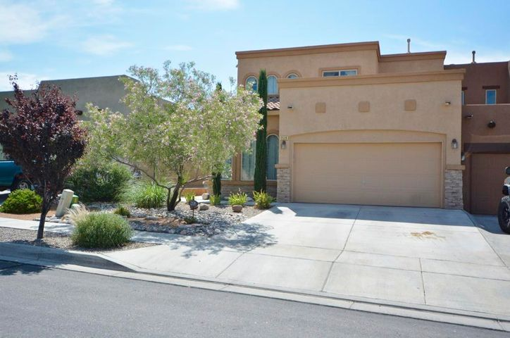 Beautiful upgraded 2BDR/2.5BA PLUS LOFT townhome in gated community of Astante at Cabezon!! Two large master suites with one MASTER ON THE MAIN LEVEL!  REFRIG AIR, SEC SYSTEM!  Great room features bamboo flooring, gas fireplace, raised ceilings and patio access to the private backyard with open patio!  Easy care landscape front & back!  Kitchen features solid surface countertops, upgraded cabinetry, bkfst nook, gas range, pantry!  HUGE LOFT for second living area/flex space/office.  Master suite on the main has bamboo flooring, walk-in closet, garden tub, sep shower.  Master suite up has great VIEWS, huge walk-in closet and full bath!  Excellent location close to parks, schools, community pool, neighborhood paths, Rust Presbyterian Hosp, Cottonwood Mall!