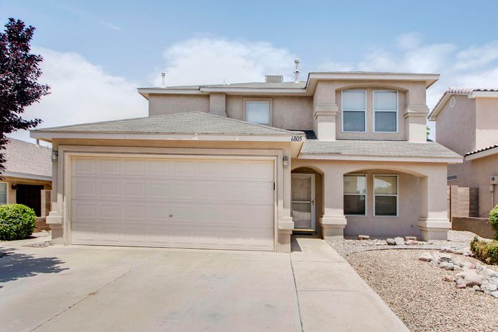 Beautiful 3 bedroom home in the desirable La Cueva district. It has an open kitchen with a breakfast nook, and a bar area for all of your dining needs, and it also has a gas connection for the stove. In addition, there is a formal dining room. The kitchen is open to the family room with a cozy gas log fireplace to make for a perfect space for entertaining. The master bedroom is huge! The master bath is spacious with 2 sinks, a separate shower and garden tub with an adjoining walk in closet. All of the bedrooms have ceiling fans. The guest bathroom is a full bathroom. There is a half bath downstairs, a separate laundry room and storage under the stairs. The back yard has a brick wall and a patio. This home is close to schools, dining, markets, and easy access to the freeway. A must see!
