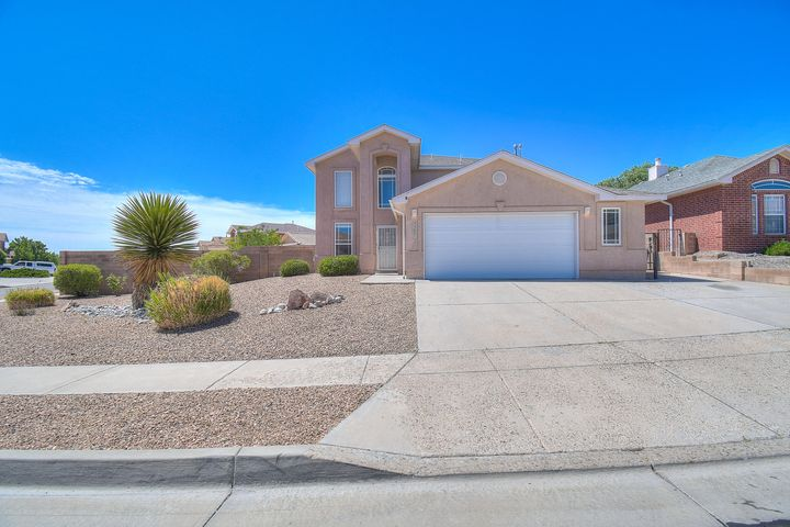 Beautifully finished home located in a prime Westside location near Cibola High School & Cottonwood mall. Home features 2,145 sq. ft. 3 Bedroom, 3 Bath, Oversized 2.5 car Garage. Home is located on a large corner, all flat lot with side yard access. Open freshly painted floor plan with new wood laminate flooring in all wet areas, carpet is less then 2 years old, has been professionally cleaned. Great room that opens to the Eat in Kitchen with plenty of cabinet space and custom baking storage from California Closets . Floor plan has a Master suite located on the main level, a walk-in closet, & a luxury bathroom w/soaking tub, and dual vanities. Second level offers 2 additional Bedrooms with a loft w/a Balcony. Landscaped Backyard is very private with an open patio with a small storage shed