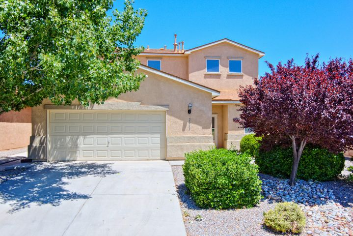 Beautiful Centex home in the popular Cabezon community of Rio Rancho! The Sonora floor plan offers space for everyone with 2,598sf, 4 bedrooms, 2.5 bathrooms and a loft! Open living area with a gas fireplace. Spaciously designed kitchen with ample cabinet and countertop space, upgraded stainless steel gas range and microwave. Dining right off of the kitchen! First floor master suite with private owners bath! Bath hosts dual sinks, an oversized vanity, relaxing garden tub, walk-in shower with glass enclosure and a walk-in closet. Upstairs take advantage of the huge loft space perfect for a kids living area. Beautiful backyard area fully walled for privacy,  a large covered patio with a hot tub,  custom built pergola and fire pit!
