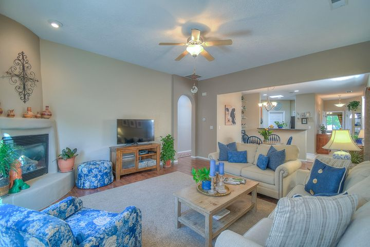 Meticulously Care for, Gated Sara's Meadow Single Story Patio Home, Overlooks Corrales, 3 bedroom - 2 baths, Open Floor plan, private backyard, Cul De Sac location with gated access to miles of trails. Close to everything - Cottonwood Mall, Intel; 25 minutes to the airport