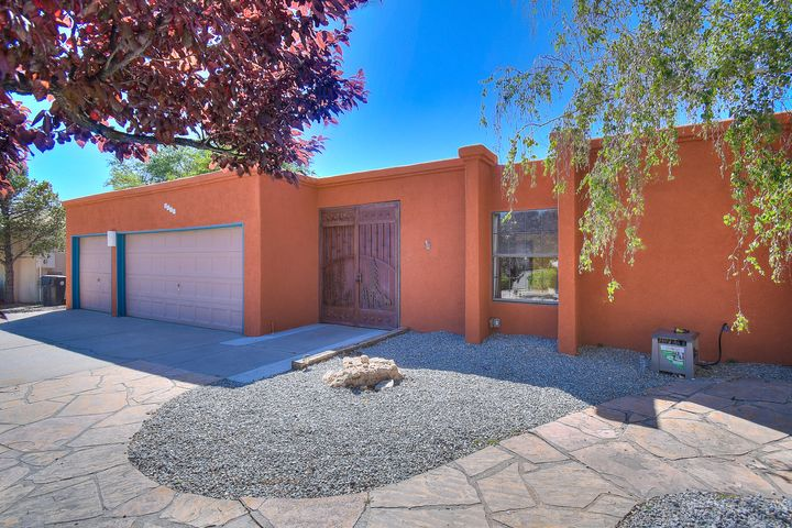 Open House-Sunday, 7/28/19 from 12:00- 4:00 PM.  Nestled in a cul de sac, just East of Tramway, this single story 4 bedroom features a 3-car garage spacious living areas with bright, natural lighting, wonderful city views, and several mature fruit producing trees.