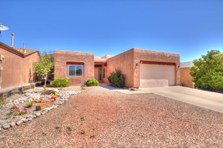 Well Cared For Pueblo-Style Raylee Home Is Located In The La Casitas Neighborhood w/in The Popular Ventana Ranch Community, Featuring (7) Parks + Greenspaces, Community Pool, Rec. Center, Tennis Courts, & Walking Trails That Connect To The Metro ABQ Bike Paths Too! Beautiful New Landscaping In Front Yard & Landscaped Backyard (sprinkler/drip systems) w/ Just Enough Lawn & a Shaded Patio w/ Wood Pillars For Your Enjoyment. Interior Features Include Gas & Wood Burning Fireplace, Nichos, Wood Beam, Saltillo Floors In Kitchen & Eat In Area, 2 Pantries, Separated Master & Natural Light Throughout To Name a Few, Updates Include: New TPO Roof, Water Heater & MasterCool A/C All Installed w/in The Last 2 yrs, New Furnace & Windows Installed End Of 2018, This Home Is Priced To Sell... Welcome Home!
