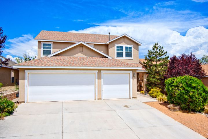 Fantastic Artistic home located in the Cabezon community. Home features 2,603sf with 4 bedrooms, 2.5 bathrooms,2 living areas an office and 3 car garage! Large living area right off the kitchen, perfect when entertaining! Kitchen with upgraded cabinetry, gas range, microwave and dishwasher! 1st floor office can also be a 5th bedroom. Upstairs find a beautiful master suite with private bath! Bath hosts dual sinks with oversized cabinetry, relaxing garden tub with cultured marble surround, walk-in shower and his and hers walk-in closet. Beautiful fully walled backyard with open patio.  Walk to Linear Park, the Park Above, Cabezon Park & Community Center Pool!