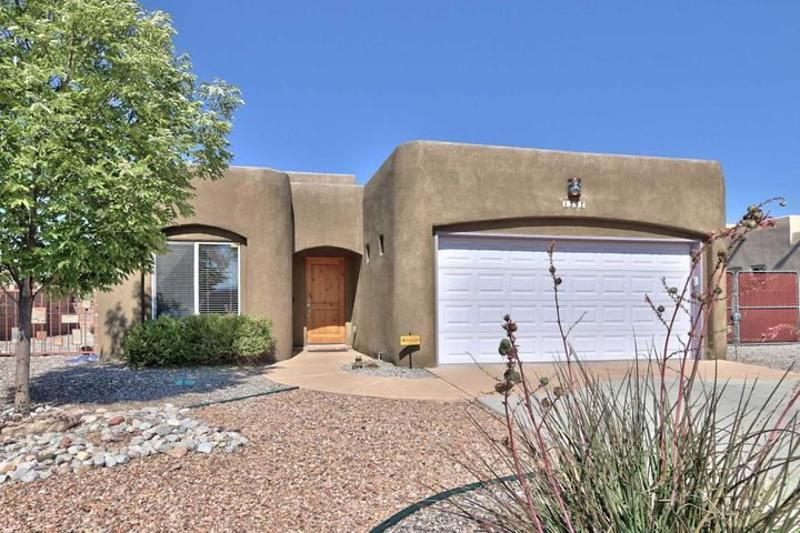 Great one level floorplan, located in the desirable Corrales Heights area on a corner lot that includes views of the mountain and the city. Two bedrooms and a full bath on one side of the home and the master suite on the other side includes good size His and her closets. Two large side yard and one has access for RV parking.