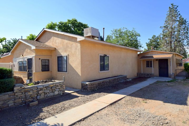 Charming newly renovated home with CASITA in the North Valley!  Call it home or a great investment home with casita! Live in one rent the other! Two properties on .2 of an Acre! Main house: Cute 2 bedroom, 1 bath, new appliances, flooring, blinds & paint 2019, new roof 2018, new water heater and Mastercool cooler in 2017, stucco in 2008. Casita: Cozy 1 bedroom, 1 bath, kitchen, living room, backyard, new roof  & water heater 2018, stucco 2008. Both properties have their own backyard and have independent gas & electric meters, one water meter for both. Large storage shed conveys. Main house 1065sq,ft + Casita 676sq.ft = total sq.ft 1741