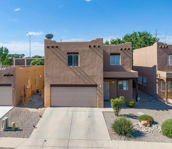 Welcome to this lovely southwestern style home in Floral Meadows. North Valley living at an affordable price! Updated flooring , kitchen appliances, refrigerated AC.... This home has so much to offer with 2 Living areas and a loft, lots of closets providing ample storage. HOA maintains front landscaping.  Conveniently located with quick access to I-40. The Bosque, Old Town, ABQ BioPark, museums, restaurants, jogging trails and biking trails are nearby. Schedule a viewing today!