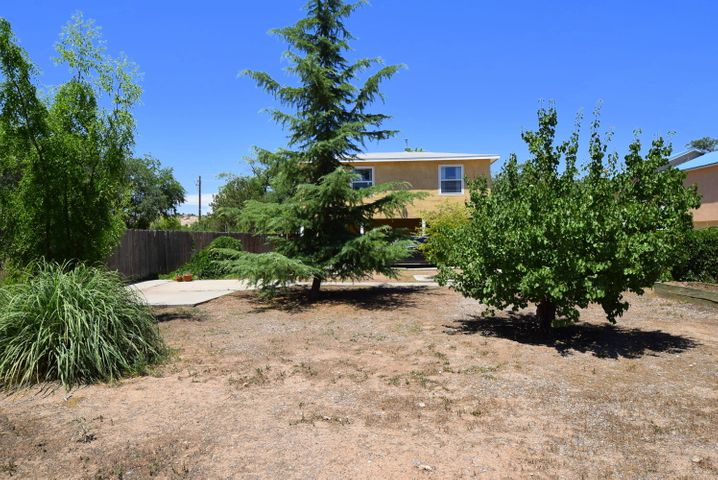 Charming, near North Valley home approx. 2490 sq.ft. living space and a large covered porch with ceiling fan for outdoor fun.  Carport and adjacent area large enough for 4 vehicles. House sits on just over a 1/4 acre, with multiple mature trees and lots of room.  Situated on a quiet street near a park and community center and within walking distance to the Bosque.  Close to Old Town and Nature Center, easy access to I-40, and still quiet enough to feel remote. New cedar wood fencing on south side of property installed.  All major kitchen appliances stay including a newer refrigerator, microwave and a new dishwasher.  2 large living areas, 4 nice sized bedrooms with two walk-in closets and a small balcony off the master.  All bathrooms remodeled.  Lots of storage! Come see this one