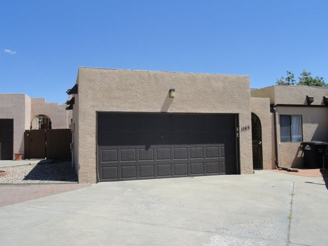 Super townhome near the golf course! Seller didn't miss a thing . 2 year old membrane roof, furnace and master cool. New commodes in both baths. Lovely master bedroom with enormous walk in closet plus two additional closets. Walk in cedar closet in guest bedroom. Instant hot water. Bosch dishwasher, and newer fridge. Cabinets are in fabulous shape and there's a large pantry. Living area clerestory windows have remote shades. Italian tile entry and dining area. Garage was used as work shop and has an exhaust fan to aid in cooling. Patio features covered sitting area, plant pots with new drip system. Grill is connected to natural gas and will remain with home.Please