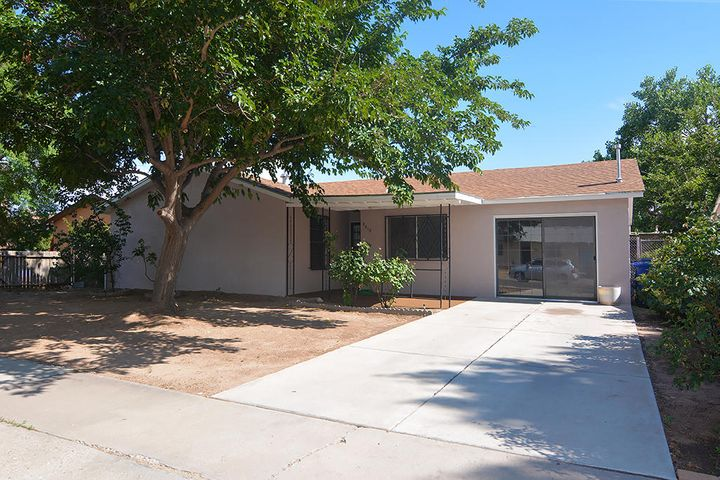 Welcome to the heart of Albuquerque!This fabulous home is conveniently located near I-40 and close to historic Old Town. This homefeatures 4 bedrooms, 2 baths, 2 living areas and a master with walk-in closet, all awaiting yourarrival. Just a few of the highlights include updated bath vanities, new flooring in much of thehome, fresh new paint and a brand new hot water heater. Outside you will find front and backcovered patios, fruit trees, roses and plenty of space to enjoy. The backyard also includes anamazing 16' X 15' stucco storage building. This beauty in this central location will not last long!Call today to find out how to make this home yours!