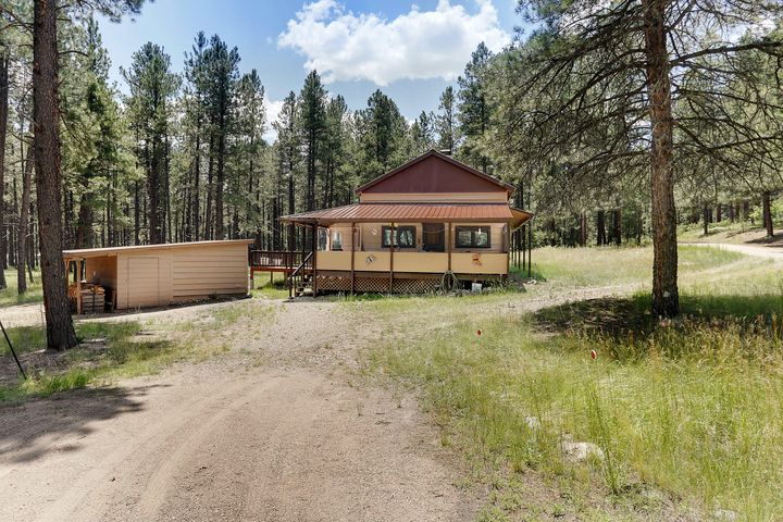Well maintained mountain cabin ready to move in! Easy access, two large decks, one is covered for dining, other is open for cookout set up or relaxing, enjoying moutain air and views. Sits on 1.12 acre lot, mostly level, get more use of the property, surrounded by woods and meadow. Nicely remodeled kitchen.  Stackable washer and dryer; a nice woodshed with a combo storage and workshop area.  Large sized loft fits two beds also a small sleeping porch; comes fully furnished, including dishes and linens!