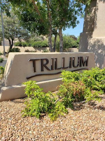 Welcome to Beautiful High Desert!  This Ralph Stone home is located in the gated community of Trillium.  It is the Chamisa floor plan which has been recently painted and is move-in ready.  The home also has a brand new Refrigerated Air system installed in May of 2018.  You will enjoy amenities like Radiant Heat and a Central Vacuum system.  This is a must-see for anyone looking to live the New Mexico Dream in High Desert.