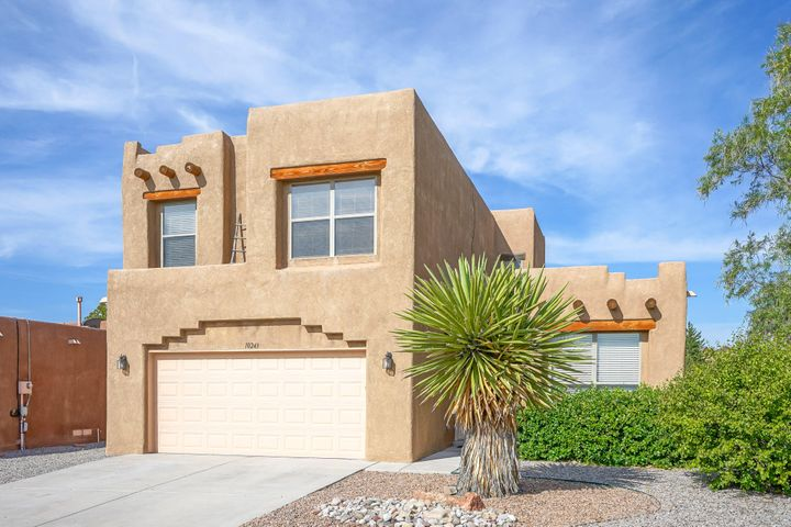 Welcome to this spacious pueblo style home in Ventana Ranch. NEW CARPET & freshly painted throughout. Close to walking paths & parks. 3 living areas, family room with a kiva style gas log fireplace open to kitchen, living room & loft/TV/game room. All bedrooms are upstairs. Kitchen has an island, oak cabinetry, pantry & tile counter tops. Loft upstairs has built in shelving. Ceiling fans, 2'' blinds, latilla inset stariway, pony walls & built-ins. Garage has extra storage area, freshly painted floor & and insulated garage door. Backyard has a wood deck & pergola to enjoy after a long day or for entertaining. Washer & dryer convey in ''as is'' condition. Lower roof is brand new TPO style, upper roof is also Tpo style, but a few years old.