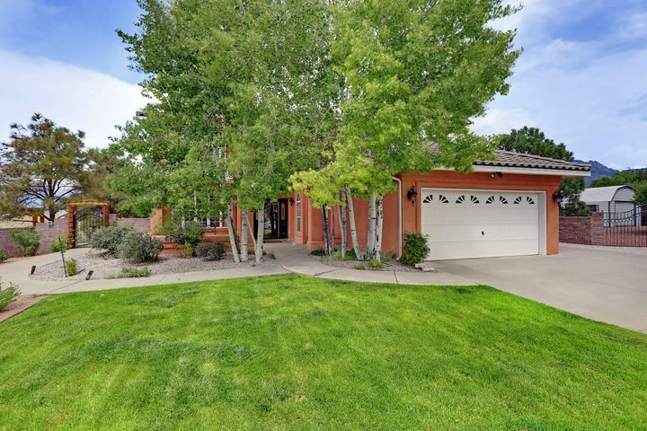 SPECTACULAR FIND!  Updated and Impeccably clean.   Very move in ready.   Stainless Steel and Granite make the kitchen a centerpiece of a wide wide open main living area.  Nicely landscaped to enjoy your private outdoor sanctuary year round.   Upstairs Bathrooms all remodeled to look like something out of a designer magazine.    8524 sits on a Cul-de-Sac with a basketball court, BBQ area and killer mountain views.     Office or 5th bedroom is located downstairs.  Sought after NAA home with North Star Elementary, Desert Ridge Middle and La Cueva high school.  Chandelier upon front entry raises and lowers to fit any occasion.  Mountain views and more.  3 car garage is 767 square feet.   A serene setting with a mighty fine home.