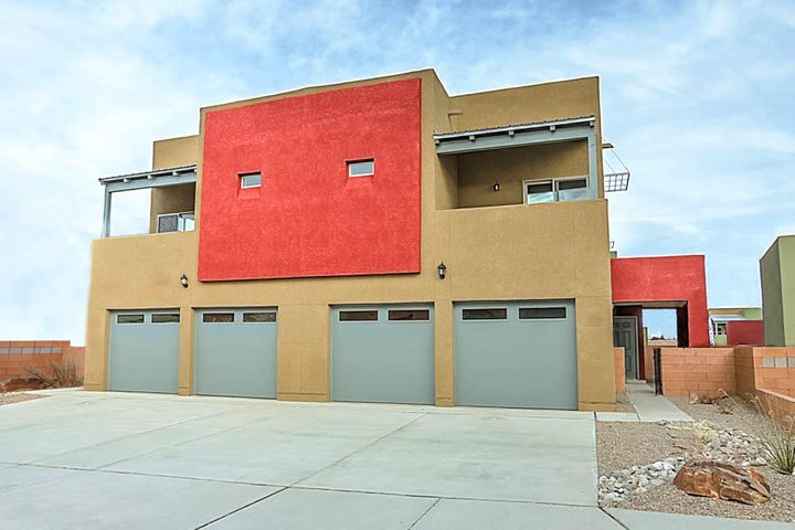 The Guadalupe floor plan is a spacious three bedroom, two and a half bathroom, two story home with thousands of dollars in upgrades including energy efficient kitchen appliances, spacious granite countertops, stunning wood cabinets, brushed nickel hardware and an attached two car garage. This beautiful home comes fully-loaded with a private master suite complete with a walk-in closet and its own patio. The living and dining rooms open to a beautiful kitchen with a large bar area. Also included in this home is a private fenced yard and front yard landscaping. This exceptional home is located within Volterra Village which is conveniently located within minutes from all that Albuquerque has to offer.