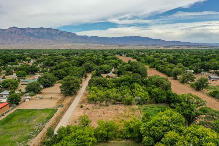 Wonderful opportunity to build your dream home on this level acre of land in the greenbelt historic District of Corrales. Lovely dead end road with established beautiful homes, flat lot, mature trees, wild flowers, with the possibility of restoring ditch water rights through the MRGCD. Come walk the lot and take a look for yourself!
