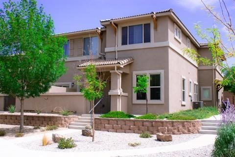 Why rent when you can buy.  This condo is minutes away from Sandia Labs, medical facilities, parks, golf courses, shopping, freeways and the mountains.  Small patio has sweeping views of the mountains.  HOA fees include all exterior maintenance on the building.  The gated community shares an equipped fitness center, a caterer enabled kitchen and dining space, seating area with large screen TV, business and work space with wireless internet for hosting meetings, grassy park, covered tables with BBQ grills and more.  Don't miss this one.