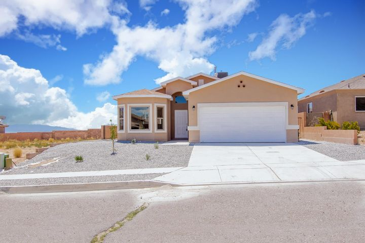 BEAUTIFUL NEW  HOME! This Exquisite property nestles in the southwest of Albuquerque and features 4 bed, 2 bath and plenty of space for the whole family. Granite counter-tops, tile flooring and carpet, refrigerated air,  open floor plan, Jacuzzi on the master bathroom,  back yard access and much more!!!