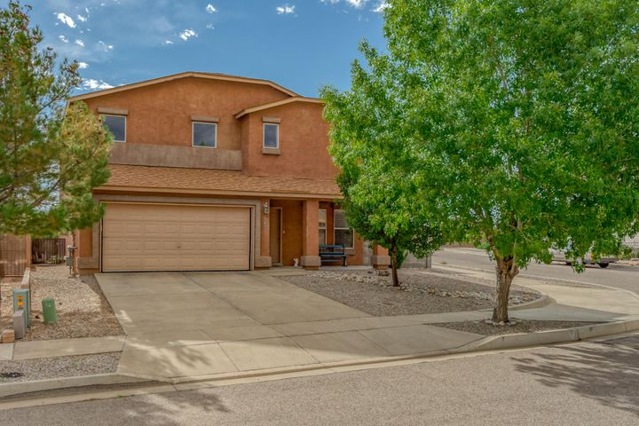Wonderful family home in a convenient  location near the Rio Rancho Civic Center.  This home boasts multiple very spacious living areas with beautiful engineered hard wood flooring on the lower story. The kitchen has an abundance of counter space, stainless steel appliances, large pantry and tile flooring. There is a HUGE walk in closet in the master bedroom. The private backyard with high block walls is fully landscaped. Plus a 3 car tandem garage. A definite must see!