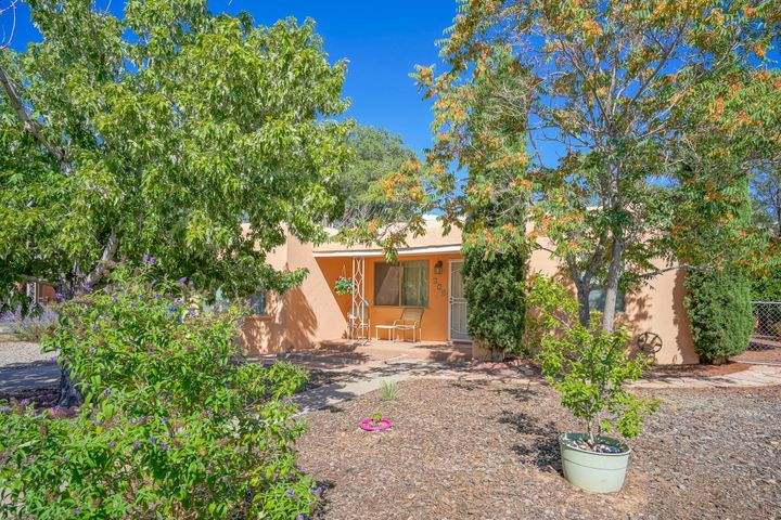 (Nob Hill) This completely updated well maintained home is on a quiet no through street in sought after Nob Hill. It is close to UNM, hospitals and  Nob Hill shopping. Updates to kitchen include brand new high end Stainless Steel appliances (double door refrigerator, super quiet dishwasher, convection oven), granite counter tops and a bakers table, updated bathrooms, double pane thermal windows throughout, roof is only 3 years old, electrical service is updated to 100 amps, forced air central heating, cable/internet wired, hardwood floors, RV parking, landscaped front & rear. This is a finished home, move in ready and in a great location. Washer and dryer will convey with property, the water fountain does not convey but is negotiable.