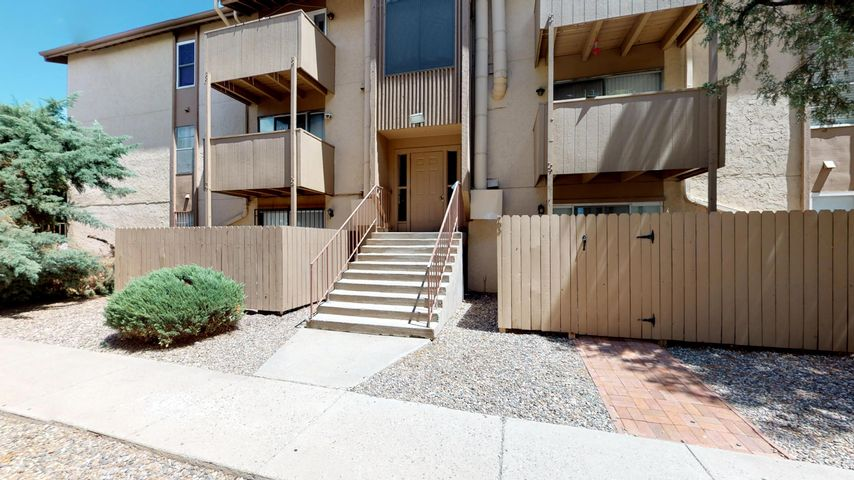 A remodeled 3-bedroom 2-bathroom condominium within a rare full-service HOA Gated Community! In the heart of Albuquerque, this beautifulcondo has updated light fixtures, windows, floors and balcony door! Featuring washer hook-up in the unit and laundry services available on the property, a community gym, a dry-sauna, a pool and hot tub, not to mention the ultra convenient location and easy access to I-25 and I-40! The HOA dues cover gas, water, sewer/trash, the common areas, building roofs, the Club House, the community pool, water heaters, 24-hr security, and ONSITE staff! Come and take a look at this gem!