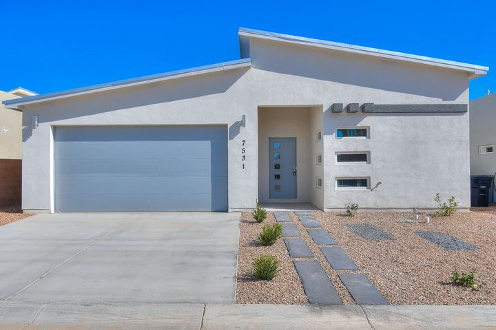 New Modern home built by Fellowship Homes in the Desert Garden Estates community! Pitched Roof creates super open floor plan with 4 bedrooms, 2 full bathrooms and a 2 car garage! Modern feel with high ceilings, sleek finishes and flexible layout. Open great room invites easy entertaining. Gourmet kitchen with Grey Flat Panel cabinets, granite counter tops, breakfast bar and plenty of storage. Beautiful master suite with its own en-suite bath and huge closet. Granite in both bathrooms. Plenty of luxury features packed into this beautiful new home: refrigerated air, blown-in insulation, low-e windows, Energy Efficient furnace and more. Experience the quality for yourself!